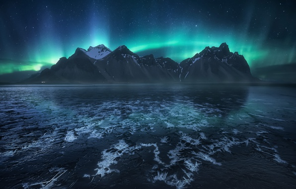 Picture the sky, stars, mountains, night, Northern lights, Iceland, the fjord, Cape, Have stoknes, Hornafjordur