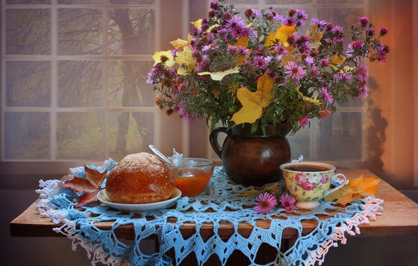 Picture autumn, leaves, flowers, tea, still life, chrysanthemum, November, apricot jam