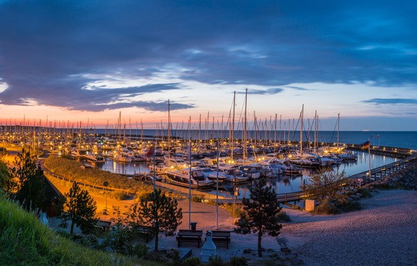 Picture the sky, clouds, sunset, lights, shore, yachts, the evening, Germany, horizon, Bay, Grömitz