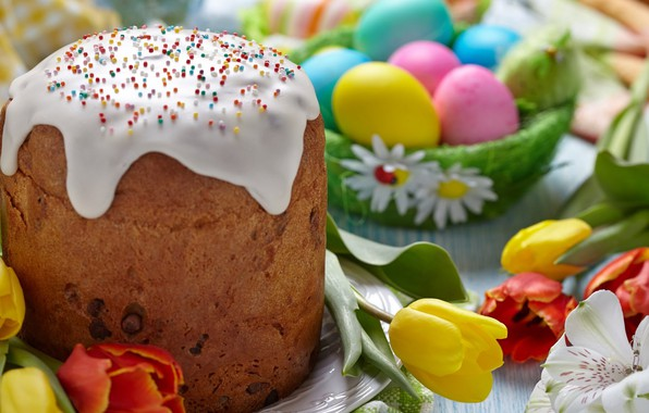 Picture flowers, eggs, Easter, tulips, cake