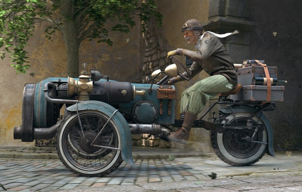 Picture machine, the city, street, racer, old man, The Journey, Scorcher, Rory Björkman