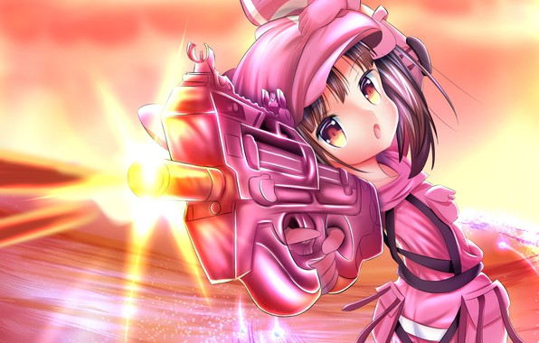 Picture weapons, anime, girl, Sword Art Online, Sword Art Online Alternative: Gun Gale Online