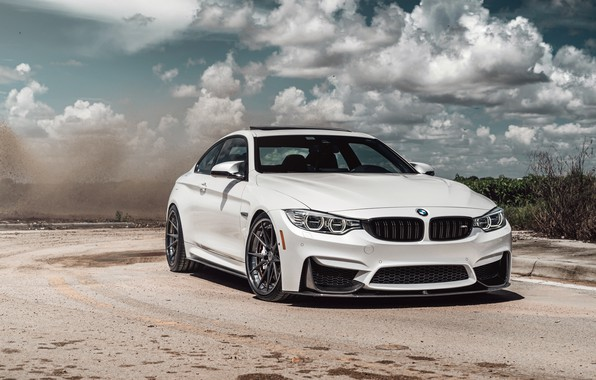 Photo wallpaper car, BMW, road, sky, White, clouds sky