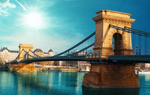 Picture summer, the city, blur, bokeh, view, Hungary, Hungary, suspension bridge, travel, Budapest, Széchenyi chain bridge, …