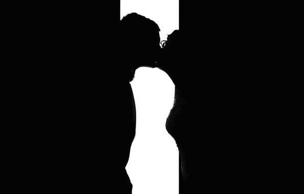 Picture love, kiss, silhouette
