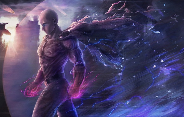 Picture city, fire, flame, game, anime, power, man, face, punch, hero, asian, hand, flash, fist, manga, ...