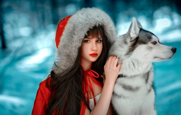 Picture winter, forest, look, girl, snow, background, each, dog, makeup, brunette, jacket, hairstyle, hood, fur, in …