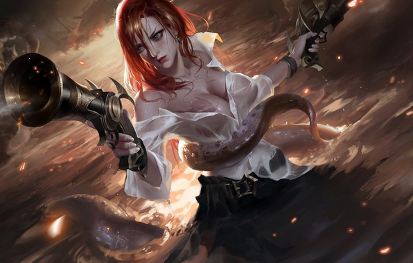 Picture guns, girl, fantasy, game, cleavage, sea, pirate, octopus, breast, water, redhead, League of Legends, weapons, ...