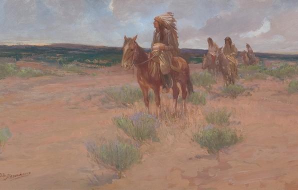 Picture grass, horse, the Indians, Oscar Edmund Berninghaus, Return to Camp