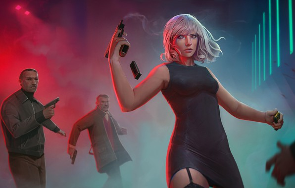 Picture girl, gun, Charlize Theron, male, killer, Lorraine Broughton, Atomic Blonde