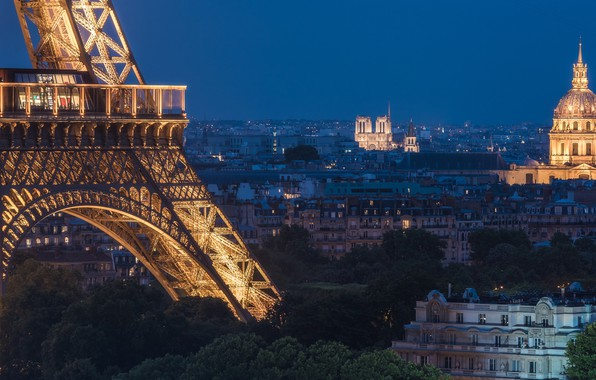 Picture France, Paris, home, panorama, Eiffel tower, Paris, night city, Notre Dame Cathedral, France, Eiffel Tower, ...