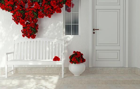 Picture flowers, roses, interior, the door, red, vase, decor