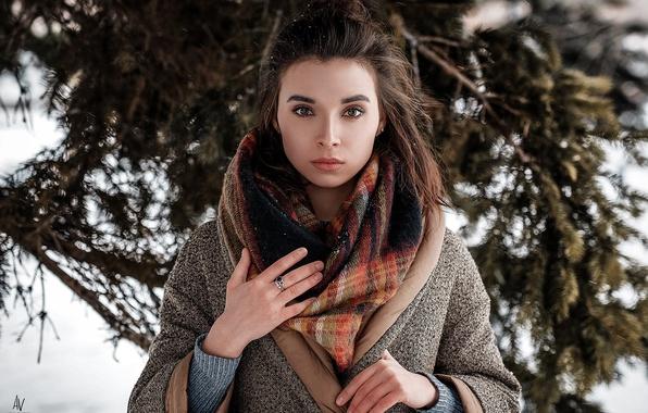 Picture winter, look, girl, snow, scarf, photographer, shawl, Model, coat, bokeh, Andrey Vechkenzin, Regina Gumerova