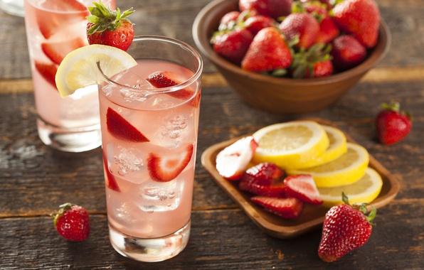 Picture ice, glass, berries, lemon, strawberry, drink, lemonade