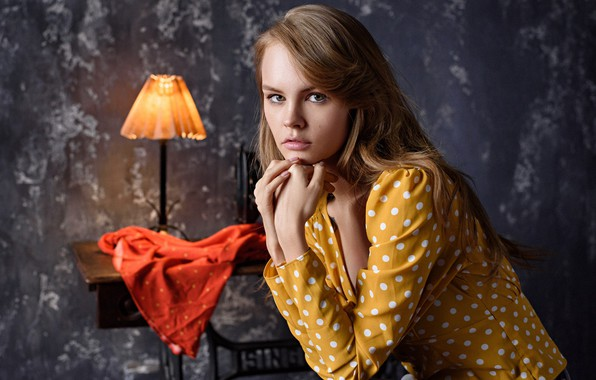 Picture look, pose, model, lamp, portrait, blouse, Anastasia Shcheglova, Anastasia Shcheglova, Max Pyzhik, Maxim Fawn