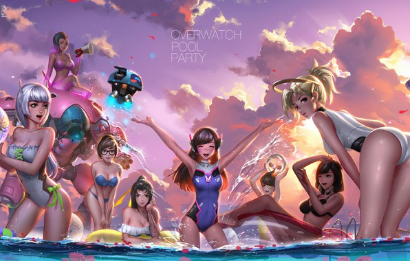 Picture beach, swimsuit, ass, chest, summer, water, girls, Mei, Overwatch, Tracer, Widowmaker, Lena Oxton, Amélie Lacroix, ...