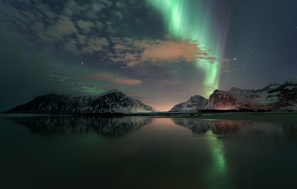 Picture night, reflection, stars, Northern lights