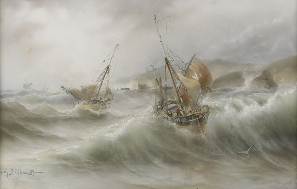 Picture wave, storm, seagulls, Herman Gustav Sillen, The sea and ships, Swedish painting