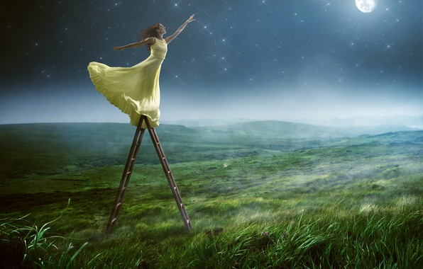 Picture greens, field, the sky, grass, girl, pose, fog, smile, mood, the moon, stars, makeup, dress, ...