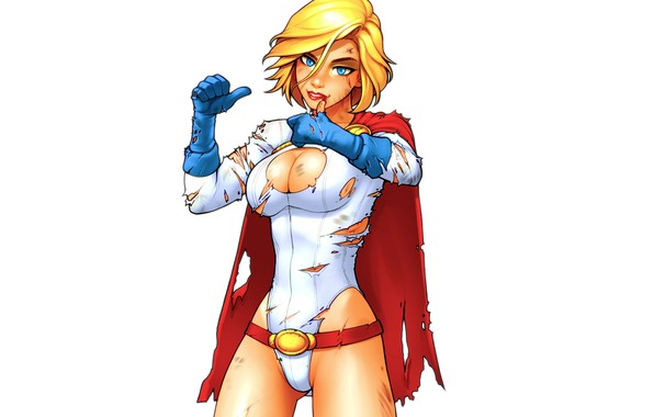 Picture chest, girl, body, art, DC Comics, power girl, Karen Starr, Kara Zor-L