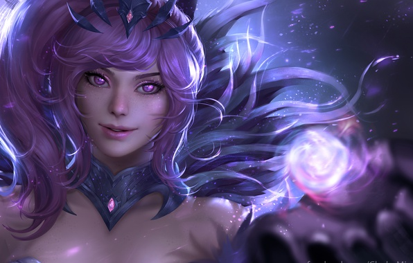 Picture girl, magic, fantasy, Lux, league of legends, Dark Element, to ChubyMi