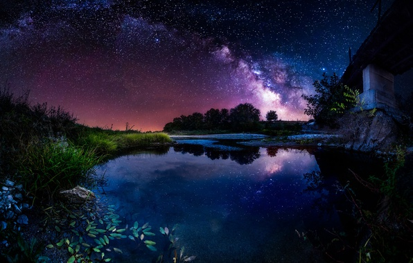 Picture the sky, stars, night, bridge, river, the milky way