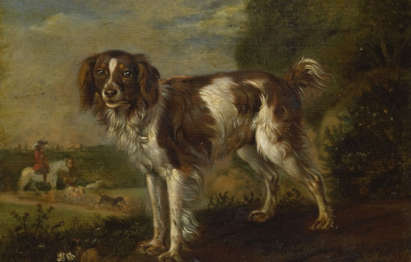 Picture animals, tree, oil, dog, picture, Paulus Potter, Spaniel