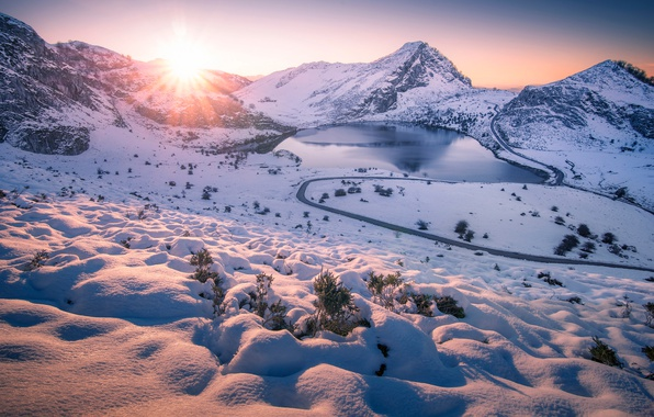 Picture winter, road, the sun, snow, mountains, lake
