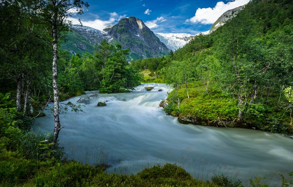 Picture summer, trees, mountains, river, Norway