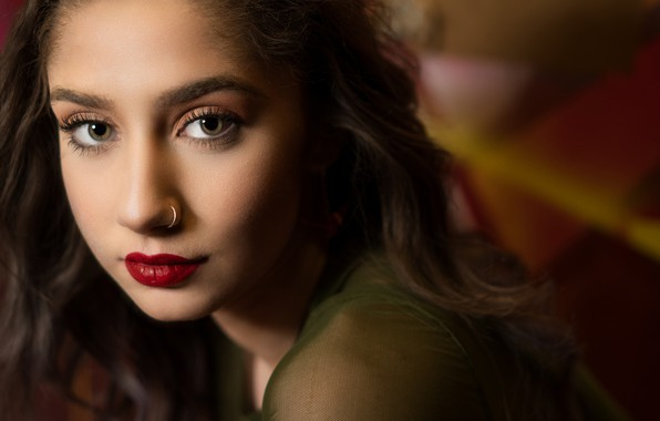 Picture look, close-up, face, portrait, makeup, piercing, hairstyle, brown hair, beauty, photoshoot, bokeh, John Hull