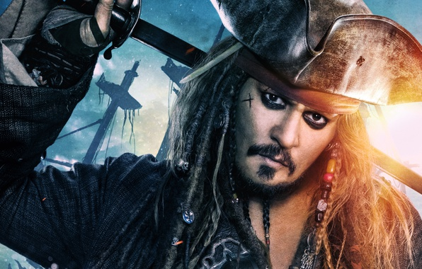 Picture decoration, Johnny Depp, hat, fantasy, captain, braids, Johnny Depp, Jack Sparrow, Pirates of the Caribbean, ...