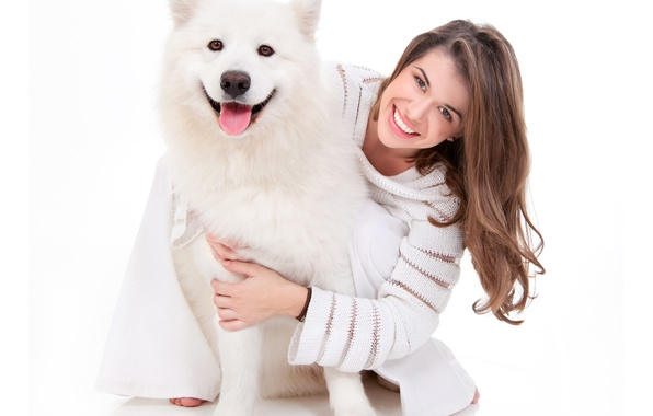Picture girl, joy, smile, dog, husky, sweater