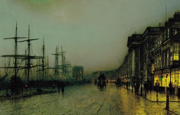 Picture ship, picture, the urban landscape, John Atkinson Grimshaw, John Atkinson Grimshaw, Canny Glasgow