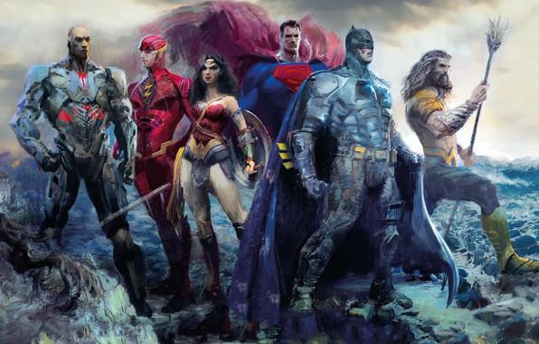 Picture fiction, figure, art, Wonder Woman, poster, Batman, characters, comic, Superman, superheroes, DC Comics, Cyborg, Aquaman, ...