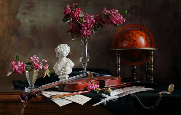 Picture flowers, notes, pen, violin, watch, figurine, still life, globe