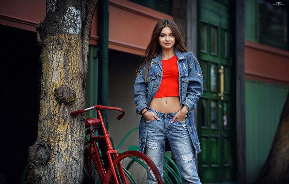 Picture bike, pose, smile, tree, model, portrait, jeans, makeup, Mike, jacket, hairstyle, brown hair, beauty, is, …