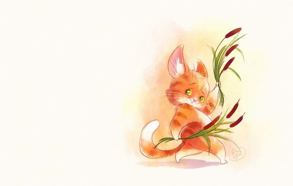 Picture cat, art, reed, cattail, children's, Victoria Kosheleva