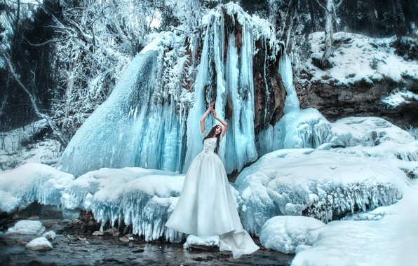 Picture winter, snow, pose, style, mood, waterfall, ice, the situation, hands, the bride, wedding dress, Maria …
