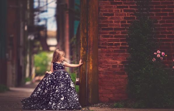 Picture wall, brick, dress, girl, Meg Bitton