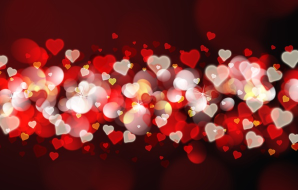 Photo wallpaper hearts, red, love, background, romantic, hearts, bokeh, Valentine's Day