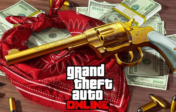 Picture money, gold, gold, revolver, bandana, gta online