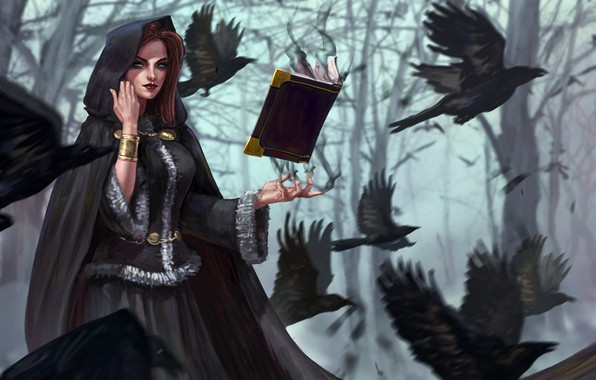 Picture forest, trees, birds, magic, fantasy, art, hood, crows, book, witch
