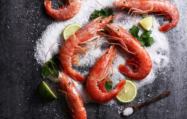 Picture lemon, shrimp, salt