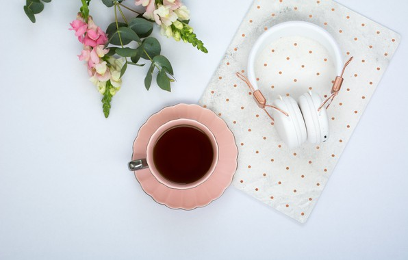 Picture flowers, coffee, headphones, Cup, pink, flowers, cup, coffee, tender