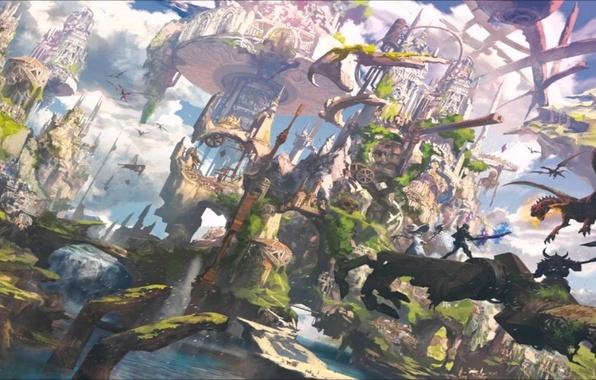 Picture world, dark, sword, fantasy, magic, armor, sky, weapon, hat, bridge, anime, cloud, fortress, katana, rpg, ...