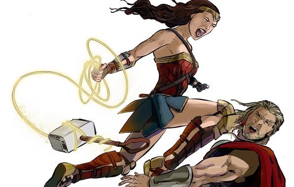 Picture Blood, Heroes, Costume, Fight, Hammer, Heroes, Cloak, Wonder Woman, Superheroes, Blow, Marvel, Thor, Thor, DC …