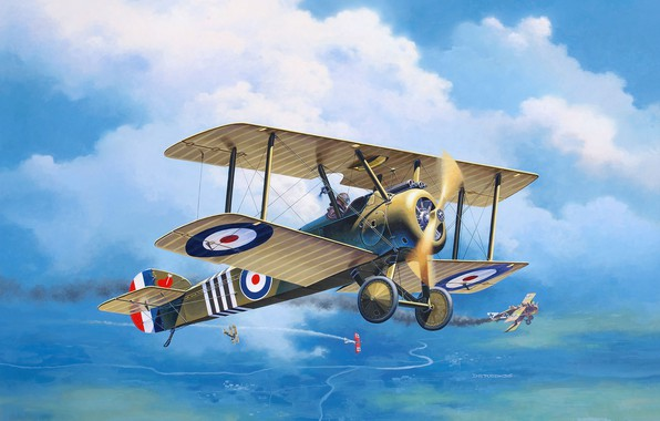 Picture Biplane, UK, art, Sopwith, The first World war, RFC, Roland C.II, F.1 Camal, Royal Flying ...