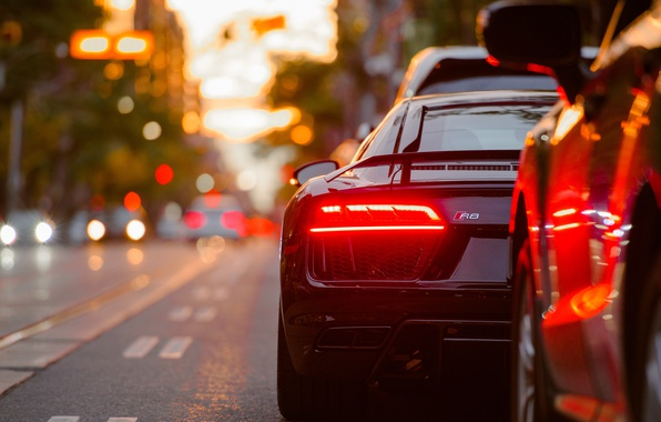 Photo wallpaper sports car, Audi, auto, bokeh, lights, the city, stopsignal, car, Audi R8