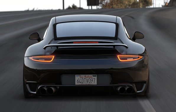 Picture road, car, Porsche 911, Grand Theft Auto V