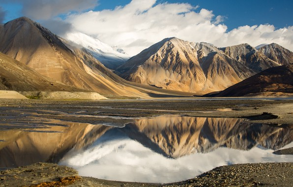 Picture the sky, clouds, mountains, lake, reflection, Tibet, mountains, clouds, lake, reflection, tibet, the sky